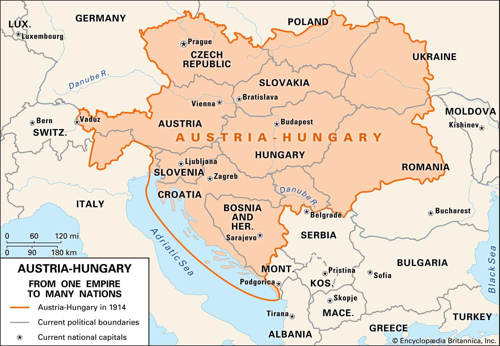 خريطة تبرز تقسيم النمسا المجر بعد الحرب