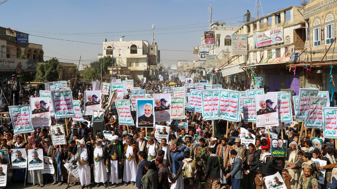 """Supporters of the Houthis rally to denounce the U.S. killing of Iranian Major-General Qassem Soleimani, head of the elite Quds Force, and Iraqi militia commander Abu Mahdi al-Muhandis, in Saada, Yemen January 6, 2020. The placards read: """"God is the Greatest, Death to America, Death to Israel, Curse on the Jews, Victory to Islam."""" REUTERS/Naif Rahma"""