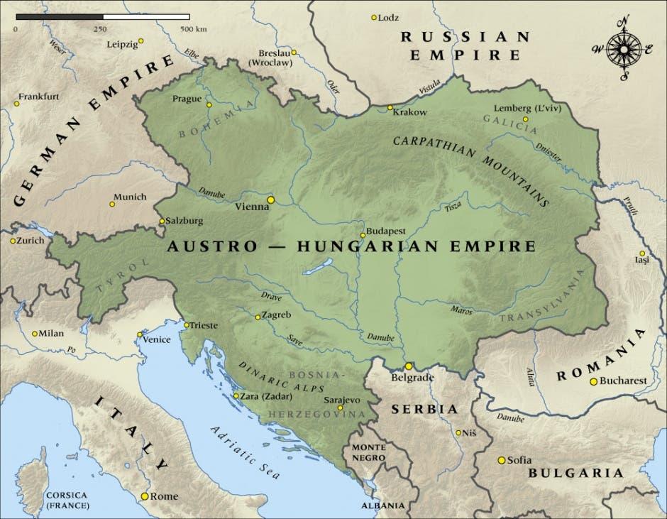 خريطة امبراطورية النمسا المجر قبل الحرب