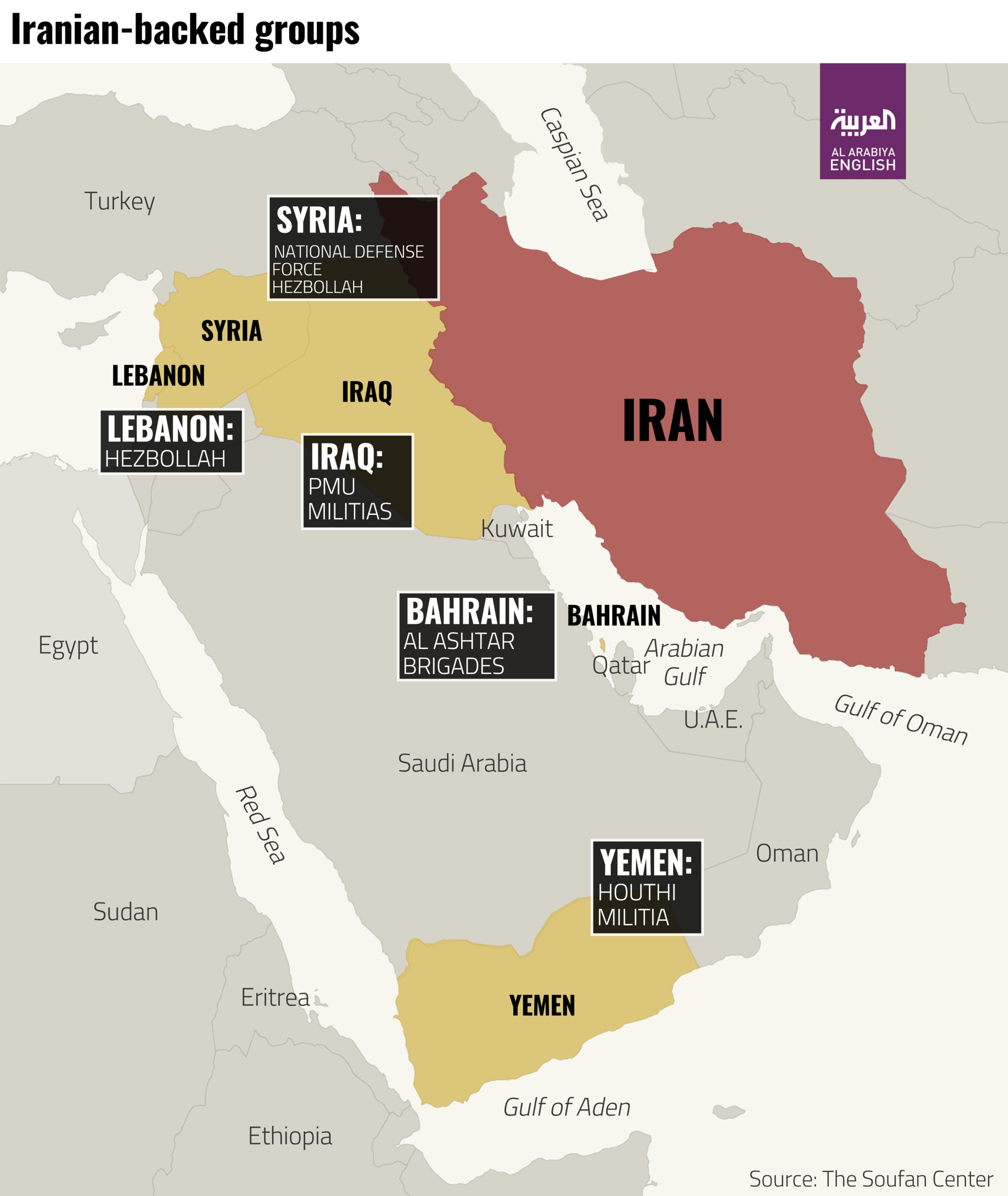 A map detailing some of the most prominent Iranian proxy organizations.