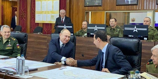 بوتين يلتقي الأسد في دمشق(7 يناير 2020)