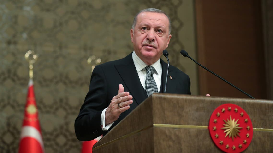 Turkish President Tayyip Erdogan speaks during a symposium in Ankara, Turkey, January 2, 2020. Murat Cetinmuhurdar/Presidential Press Office/Handout via REUTERS ATTENTION EDITORS - THIS PICTURE WAS PROVIDED BY A THIRD PARTY. NO RESALES. NO ARCHIVE