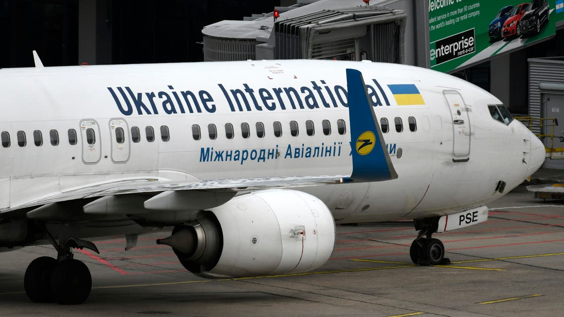 This picture shows a Boeing 737-800 of the Ukraine International airline on September 24, 2019 at the airport in Duesseldorf, western Germany.  (AFP)