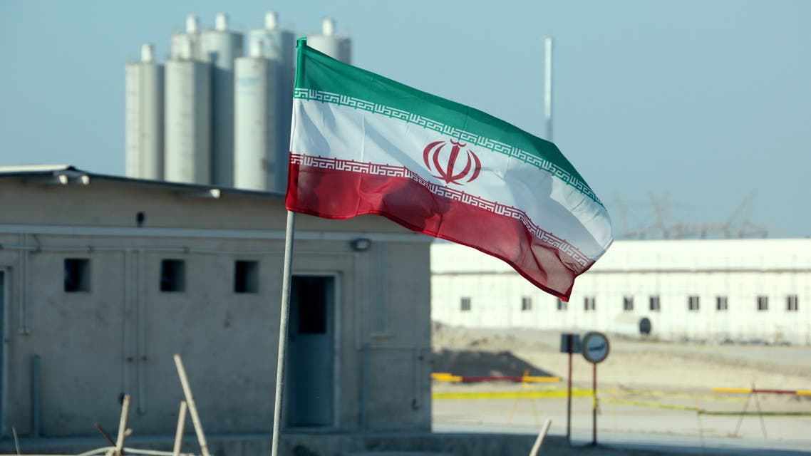 A picture taken on November 10, 2019, shows an Iranian flag in Iran's Bushehr nuclear power plant, during an official ceremony to kick-start works on a second reactor at the facility. Bushehr is Iran's only nuclear power station and is currently running on imported fuel from Russia that is closely monitored by the UN's International Atomic Energy Agency.