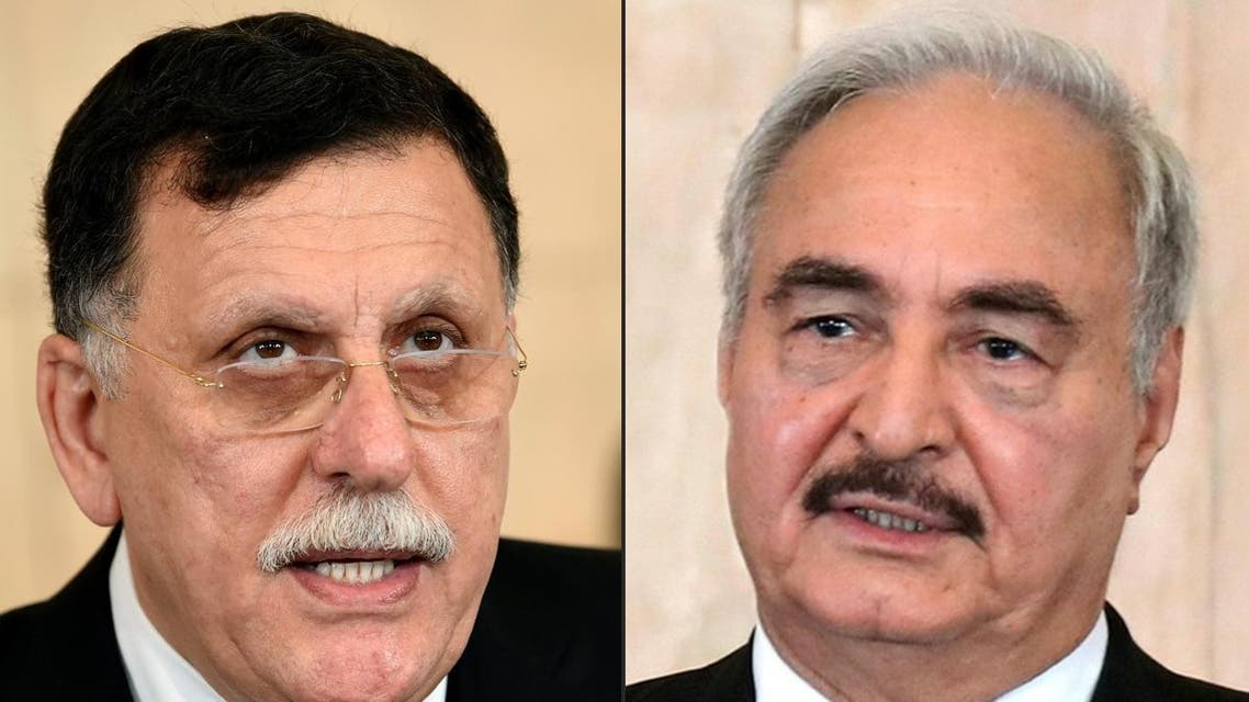A combo photo of al-Sarraj and Haftar. (File photo: AFP)