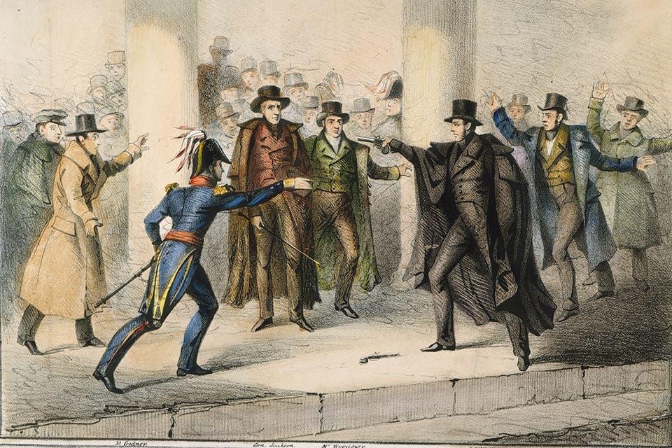 رسم تخيلي لمحاولة اغتيال أندرو جاكسون