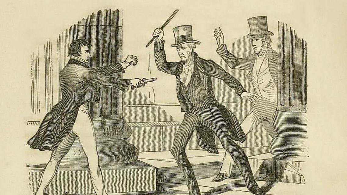 رسم تخيلي للرئيس أثناء استخدامه لعصا ضد الرجل الذي حاول قتله
