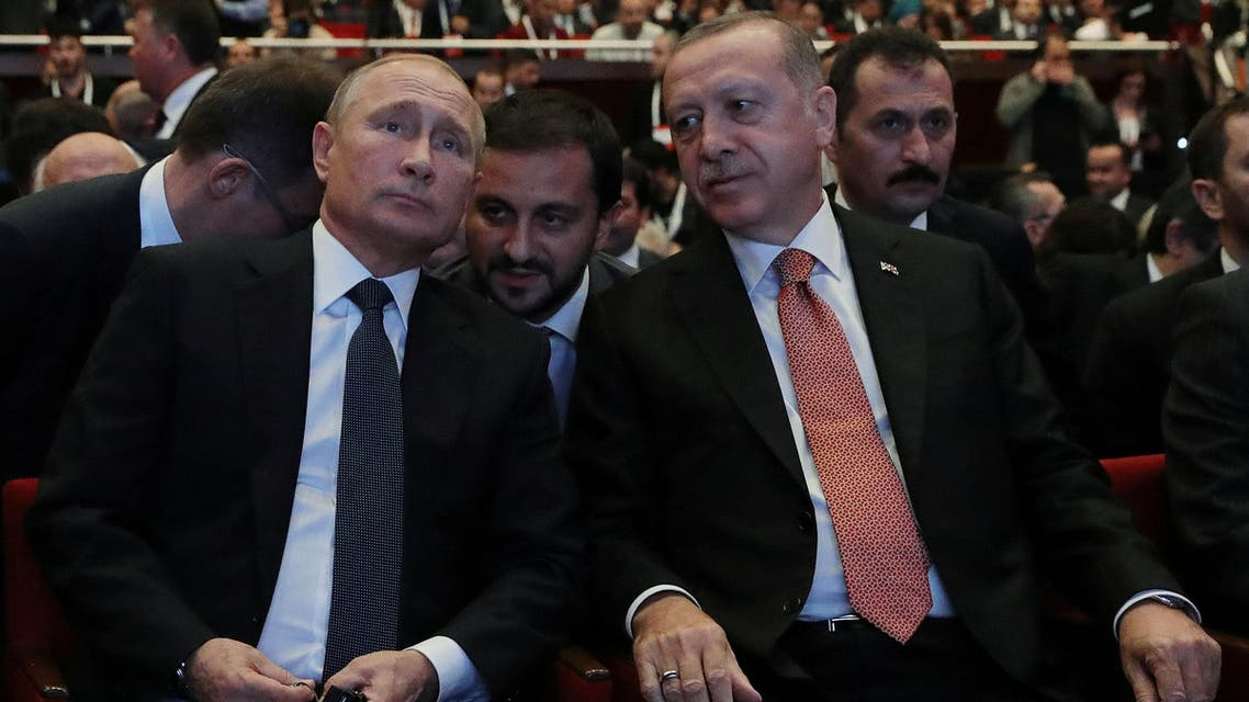 Russian President Vladimir Putin (L) and his Turkish counterpart Tayyip Erdogan attend a ceremony to mark the completion of the sea part of the TurkStream gas pipeline, in Istanbul, Turkey November 19, 2018. Sputnik/Mikhail Klimentyev/Kremlin via REUTERS ATTENTION EDITORS - THIS IMAGE WAS PROVIDED BY A THIRD PARTY.