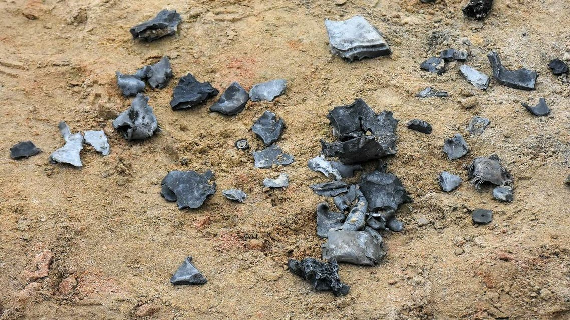 A picture taken on January 8, 2020 in the Iraqi Kurdish town of Bardarash in the Dohuk governorate shows shrapnel from a reportedly Iranian missile initially fired at Iraqi bases housing US and other US-led coalition troops. (AFP)