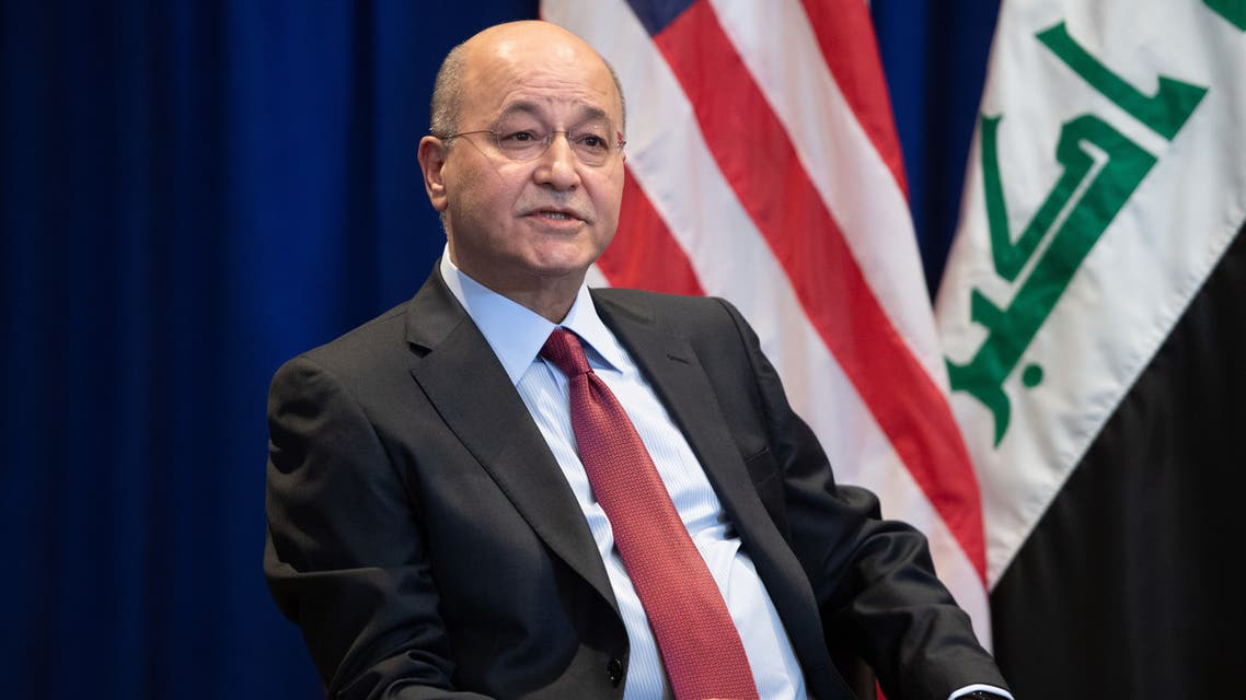 Barham Saleh, President of Iraq, holds a meeting with US President Donald Trump (not pictured) in New York, September 24, 2019, on the sidelines of the United Nations General Assembly.