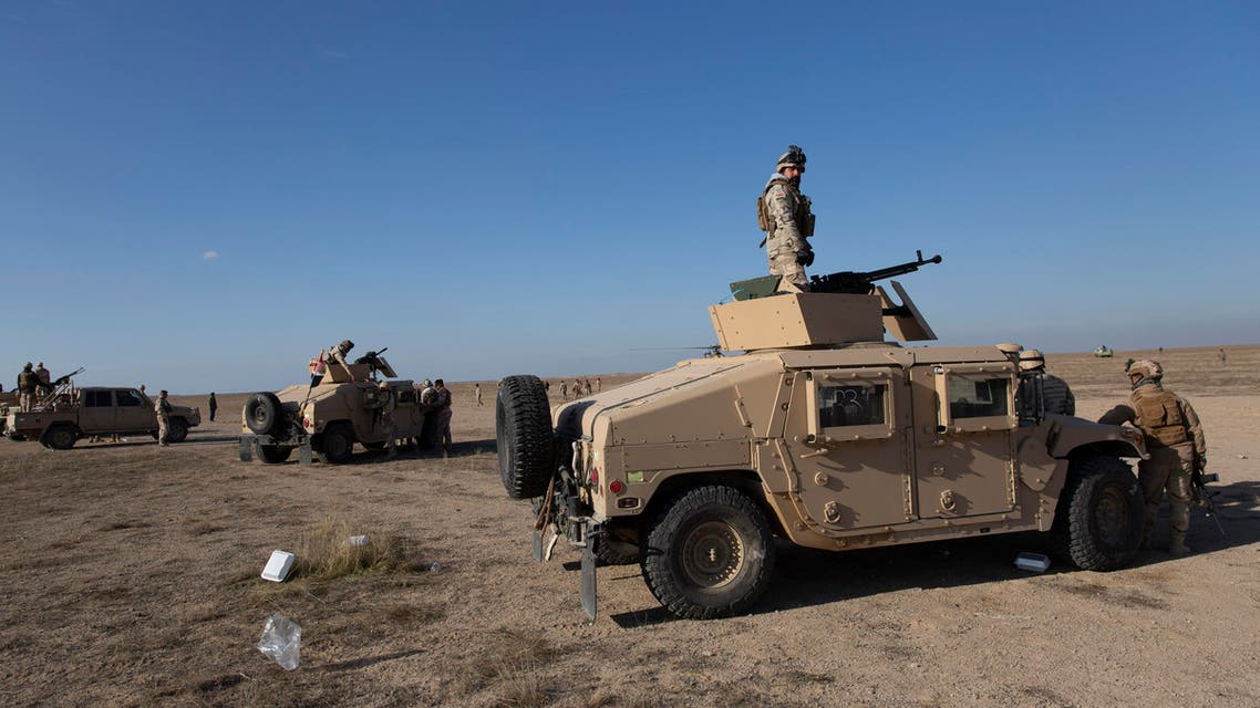 Iraqi army units are deployed during military operations of the Iraqi Army's Seventh Brigade in Anbar, Iraq (AP)
