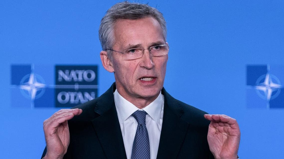 NATO Secretary General Jens Stoltenberg delivers a speech during a press conference at the end of The North Atlantic Council meeting focused on the situation concerning Iran, at the Ambassadorial level, at NATO Headquarters, in Brussels, on January 6, 2020. (AFP)