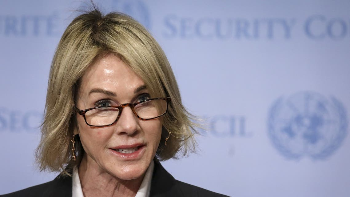NEW YORK, NY - OCTOBER 16: U.S. Ambassador to the United Nations Kelly Knight Craft delivers a brief statement to the press after a closed Security Council meeting about the situation in Syria, at the United Nations headquarters on October 16, 2019 in New York City. Craft called for Turkey to declare a ceasefire immediately and issued warnings toward Turkey if humanitarian abuses occur. Drew Angerer/Getty Images/AFP