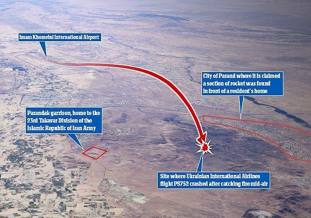 موقع التحطم على بعد أقل من ميلين من قاعدة بارانداك، مقر فرقة تاكافار التابعة للجيش الإيراني (نقلا عن ديلي ميل)