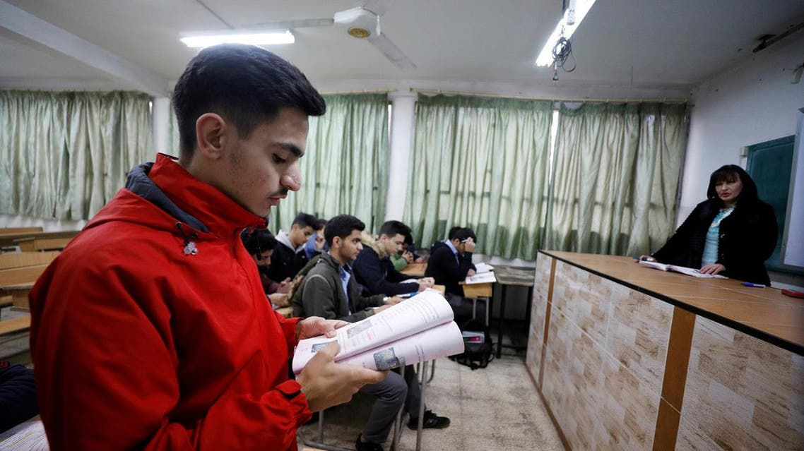 A student attends a Russian language class at a school in Damascus, Syria. (Reuters)