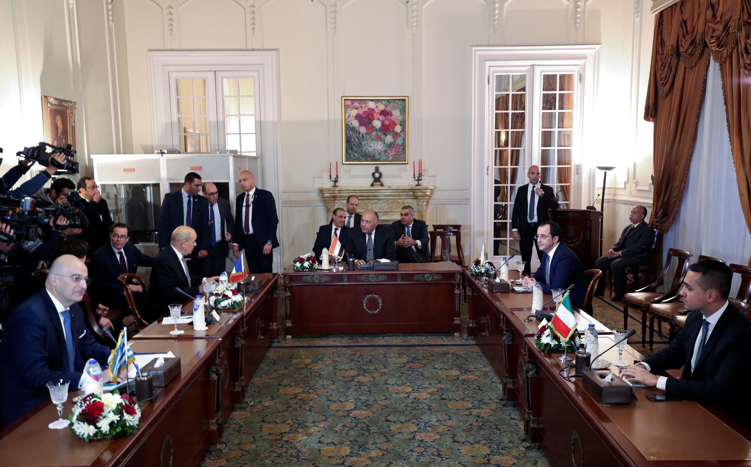 اجتماع حول ليبيا ضم وزراء خارجية مصر و فرنسا و قبرص و اليونان في القاهرة