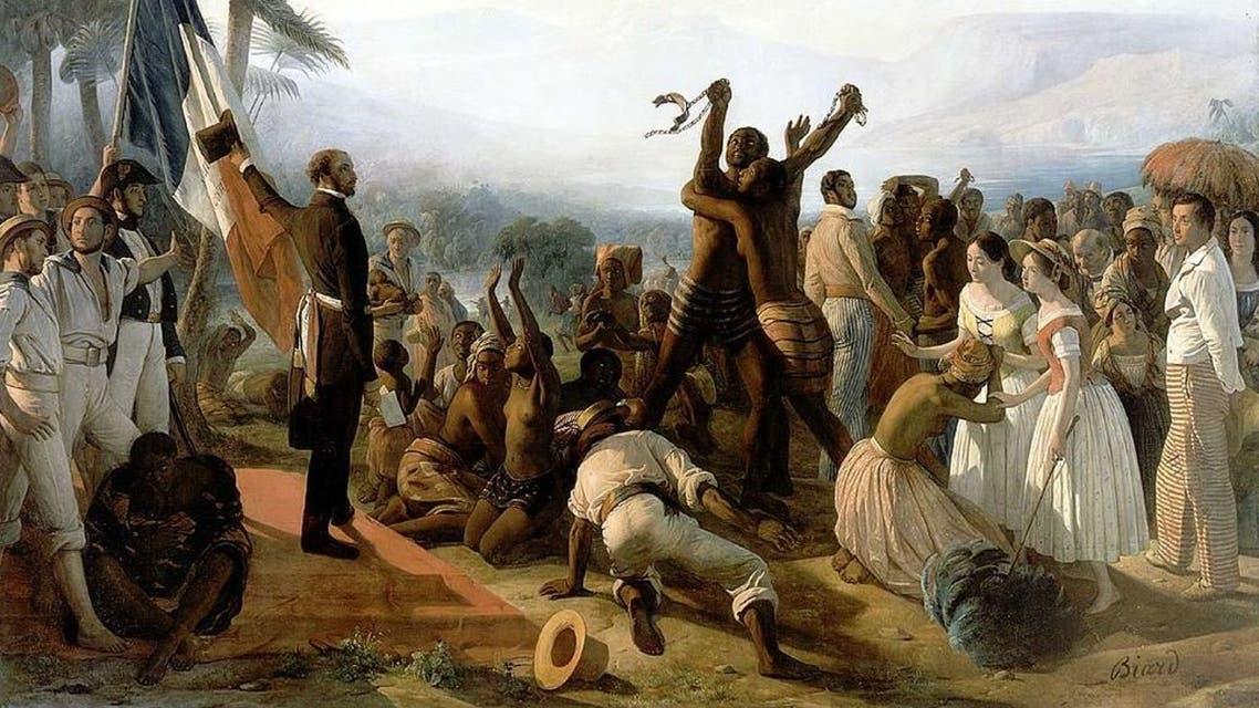 لوحة تجسد اجهاض العبودية بفرنسا سنة 1848