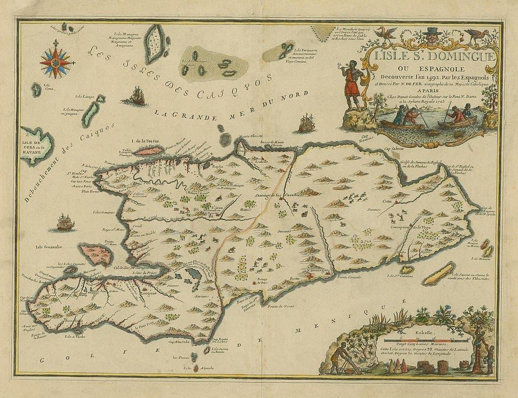 خريطة تعود للقرن 18 لجزيرة سان دومينغ