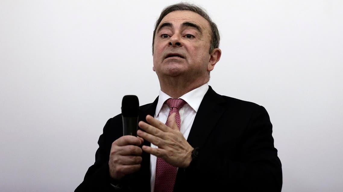 Nissan's former chairman Carlos Ghosn speaks at a press conference in Beirut, Lebanon, Wednesday, Jan. 8, 2020. (AP)