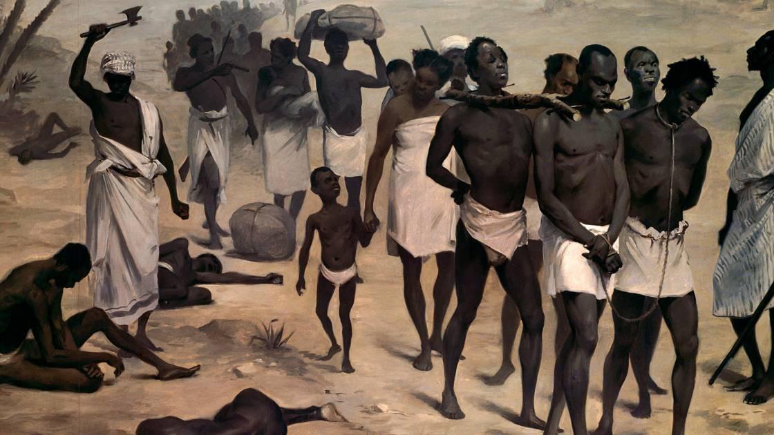 رسم تخيلي لإحدى عمليات نقل العبيد