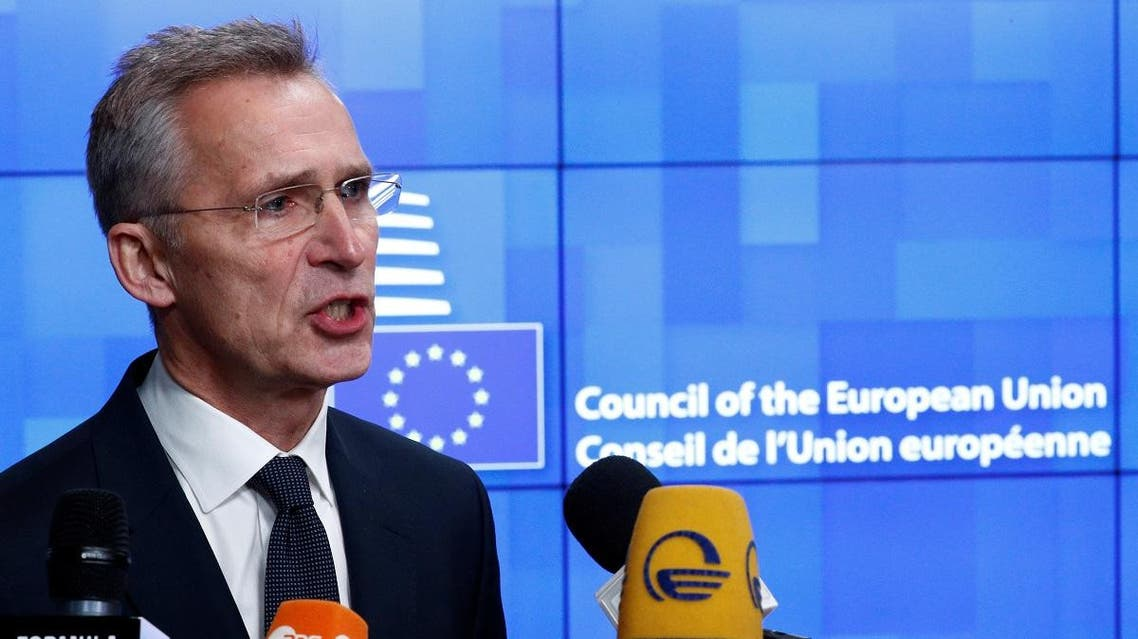 NATO Secretary General Jens Stoltenberg holds a news conference at a European Union foreign ministers emergency meeting. (Reuters)