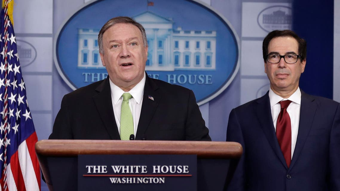 Secretary of State Mike Pompeo and Treasury Secretary Steve Mnuchin brief reporters about additional sanctions placed on Iran, at the White House, Friday, Jan. 10, 2019, in Washington. (AP Photo