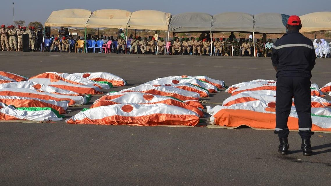 A photo taken on December 13, 2019 showing the bodies of 71 Military personnel who were killed by ISIS in Inates in the western Tillaberi region on December 10, 2019. (File photo: AFP)