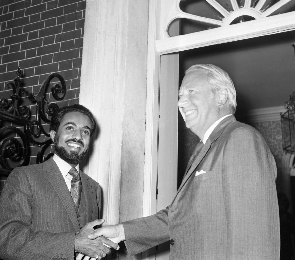 Sultan Qaboos is greeted by Britain's Prime Minister Edward Heath in London on Sept. 11, 1973. (Photo: AP)