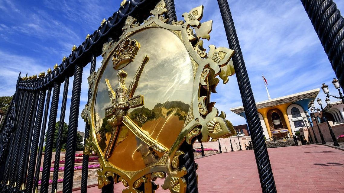 This picture taken on November 17, 2018 shows a view of Oman's royal seal on the gatehouse outside Al-Alam ceremonial palace in Oman's capital Muscat. (AFP)