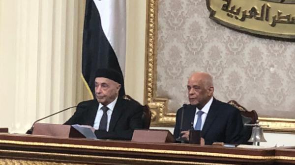 عقيلة صالح يدعو لتدخل عسكري مصري بليبيا لمواجهة أي غزو خارجي