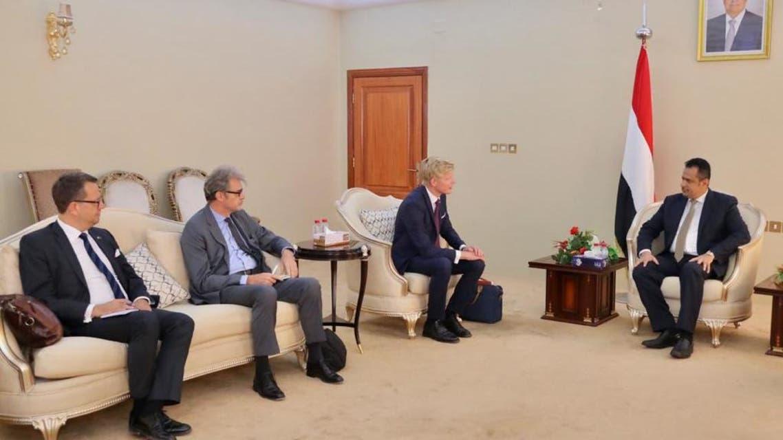 رئيس الحكومة اليمنية مع الوفد الاوروبي