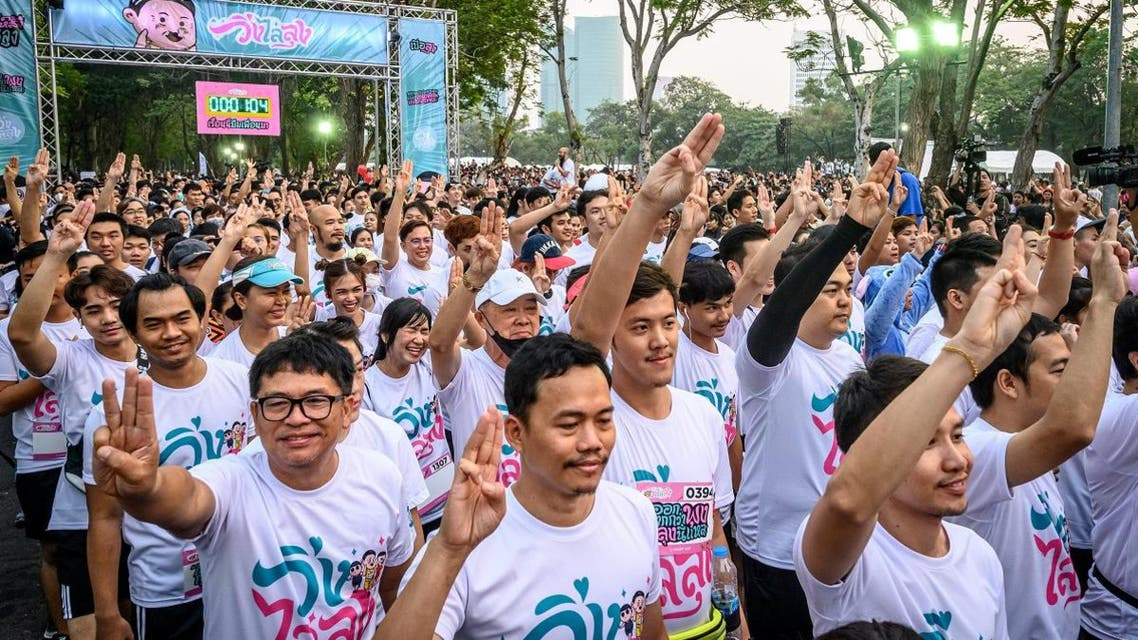 """People take part in a """"run against dictatorship"""" in Bangkok on January 12, 2020. (Photo: AFP)"""
