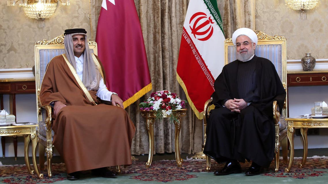 Iranian President Hassan Rouhani meets with Emir of Qatar Sheikh Tamim bin Hamad bin Khalifa Al-Thani during a welcome ceremony, in Tehran, Iran (Reuters)