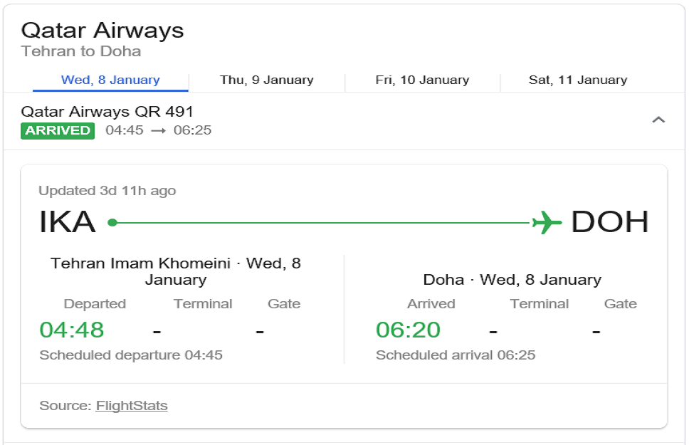 جدول رحلة القطرية من المطار الايراني ووصولها الى الدوحة قبل 13 دقيقة من الاقلاع الأوكرانية الى مثواها الأخير