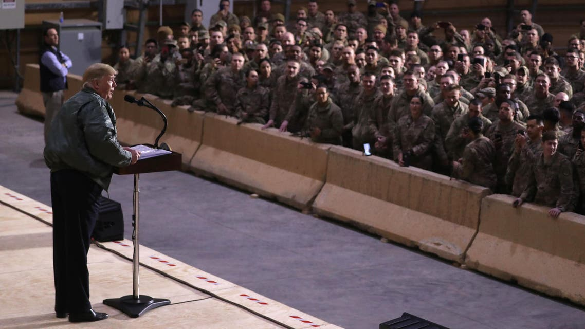 US President Donald Trump delivers remarks to US troops in an unannounced visit to Al Asad Air Base, Iraq December 26, 2018. File photo: (Reuters)