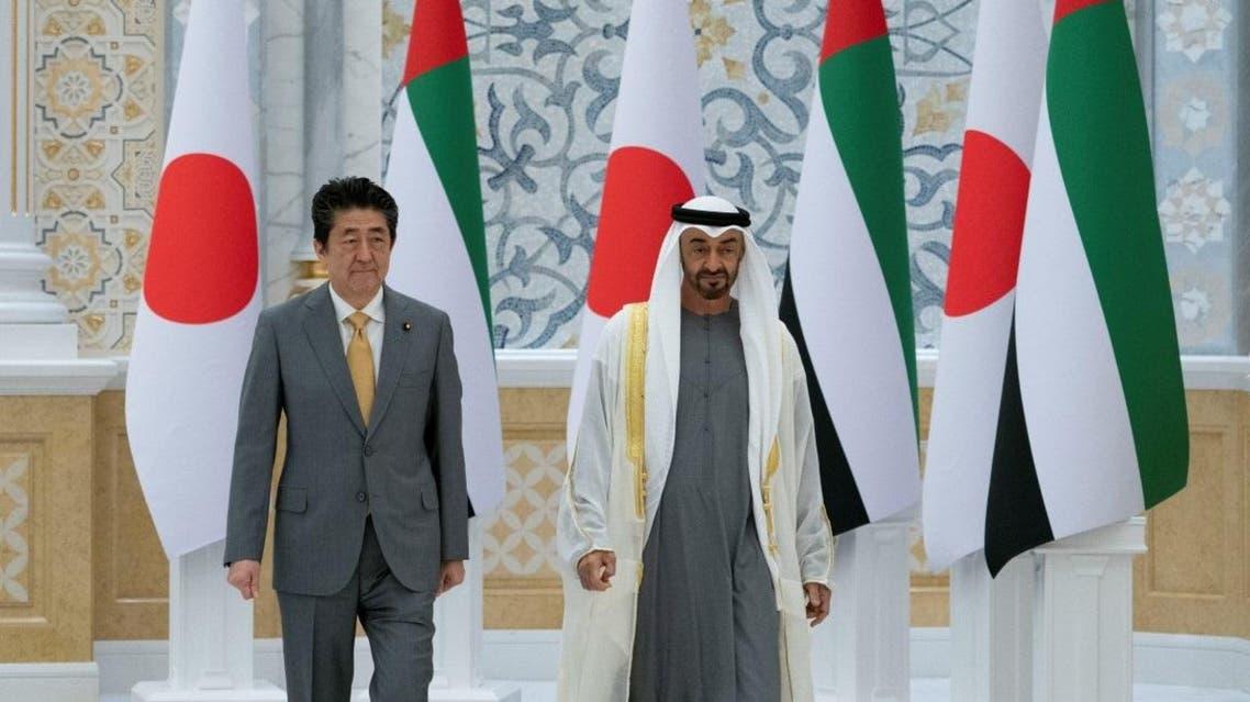 Sheikh Mohamed bin Zayed Al Nahyan, Crown Prince of Abu Dhabi, receives Shinzo Abe, Prime Minister of Japan, at Qasr Al Watan Palace in Abu Dhabi on January 13, 2020. (WAM)