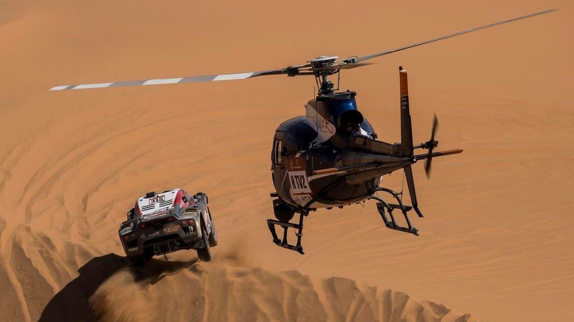 Driver Mathieu Serradori, of France, and co-driver Fabian Lurquin, of Belgium, race their Century during stage seven of the Dakar Rally between Riyadh and Wadi Al Dawasir, Saudi Arabia, on January 12, 2020. (AP)