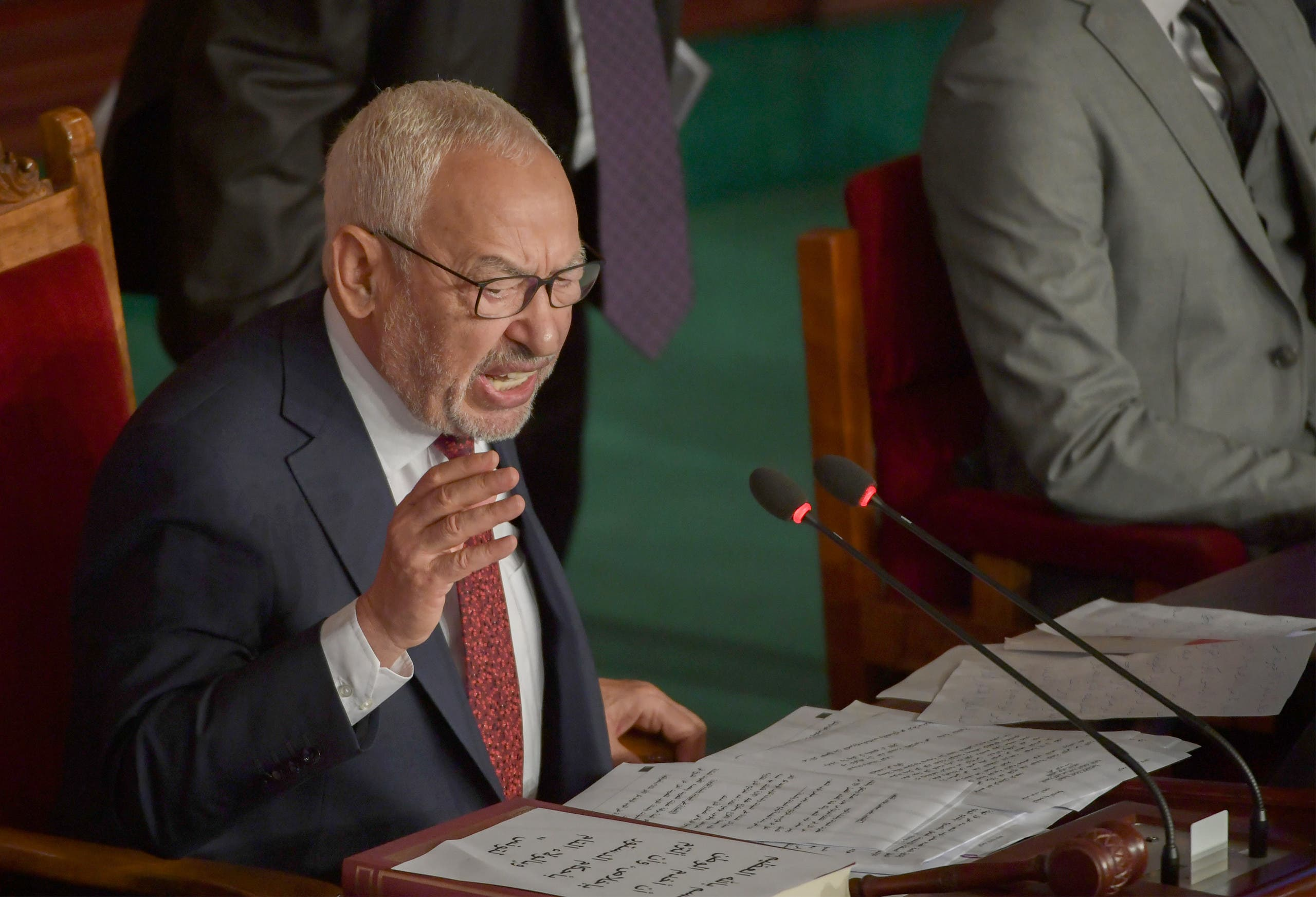 Tunisian Islamist-inspired Ennahdha party leader Rached Ghannouchi chairs the first session of the new parliament following the October elections in the capital Tunis, on November 13, 2019. (File photo)