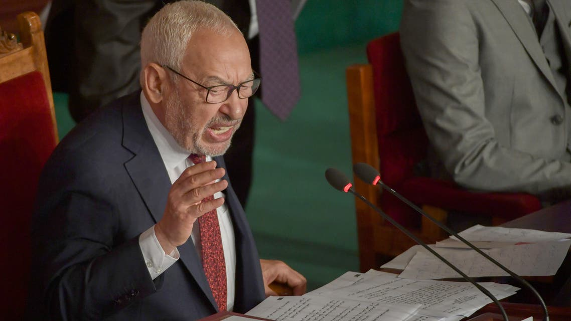 Tunisian Islamist-inspired Ennahdha party leader Rached Ghannouchi chairs the first session of the new parliament following the October elections in the capital Tunis, on November 13, 2019. A collective oath by newly elected members of parliament was challenged by the leader of the Free Destourian Party (PDL), anti-Islamist lawyer Abir Moussi who wanted MPs to swear one by one, claiming some of them were not in the room at the time of the oath. It is the first clash on the floor of the Assembly between Moussi and Ghannouchi, who hopes to be the new president of the Assembly.