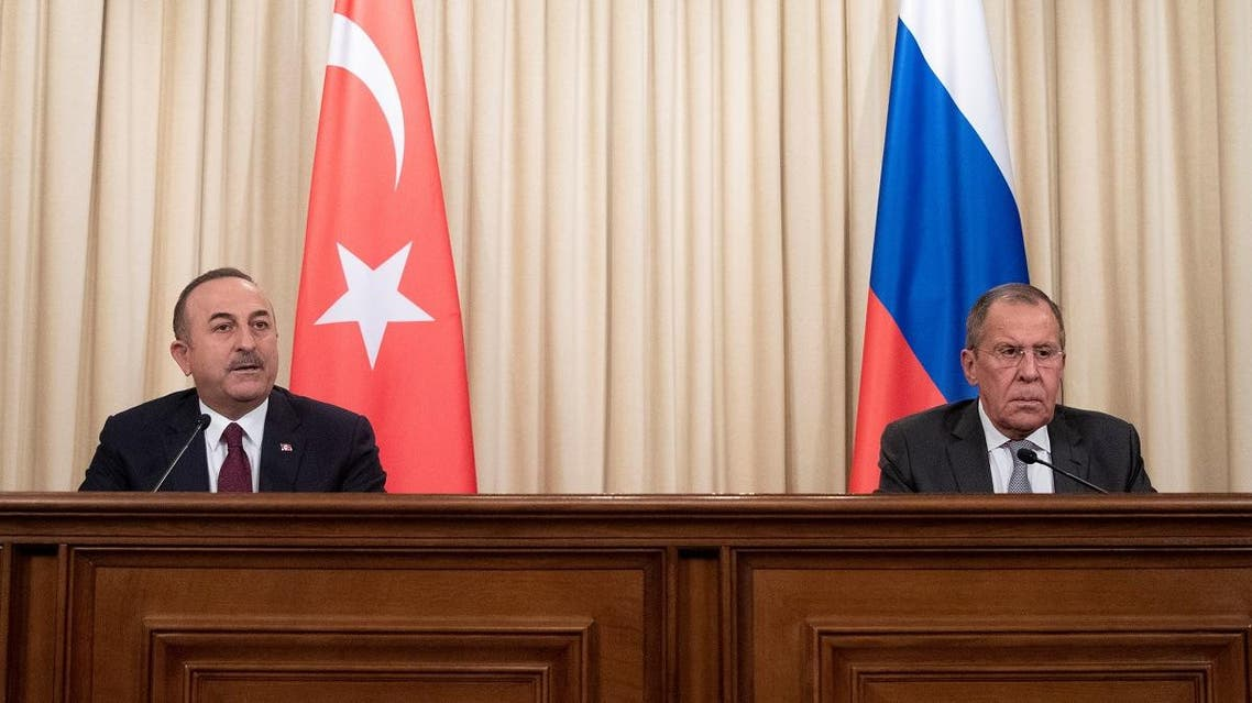 Turkish Foreign Minister Mevlut Cavusoglu and Russian Foreign Minister Sergei Lavrov attend a joint news conference following their talks in Moscow, Russia January 13, 2020. (Reuters)