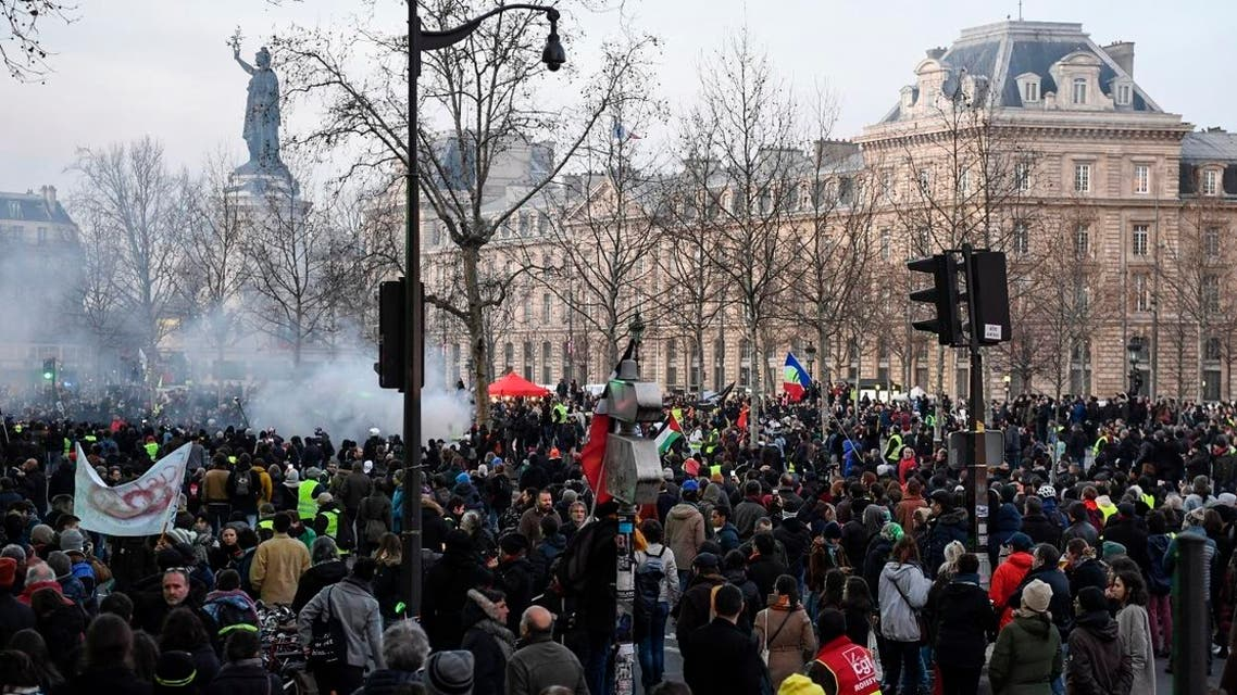 People demonstrate on Republic Square in Paris, on January 11, 2020, as part of a nationwide multi-sector strike against the French government's pensions overhaul. (Photo: AFP)