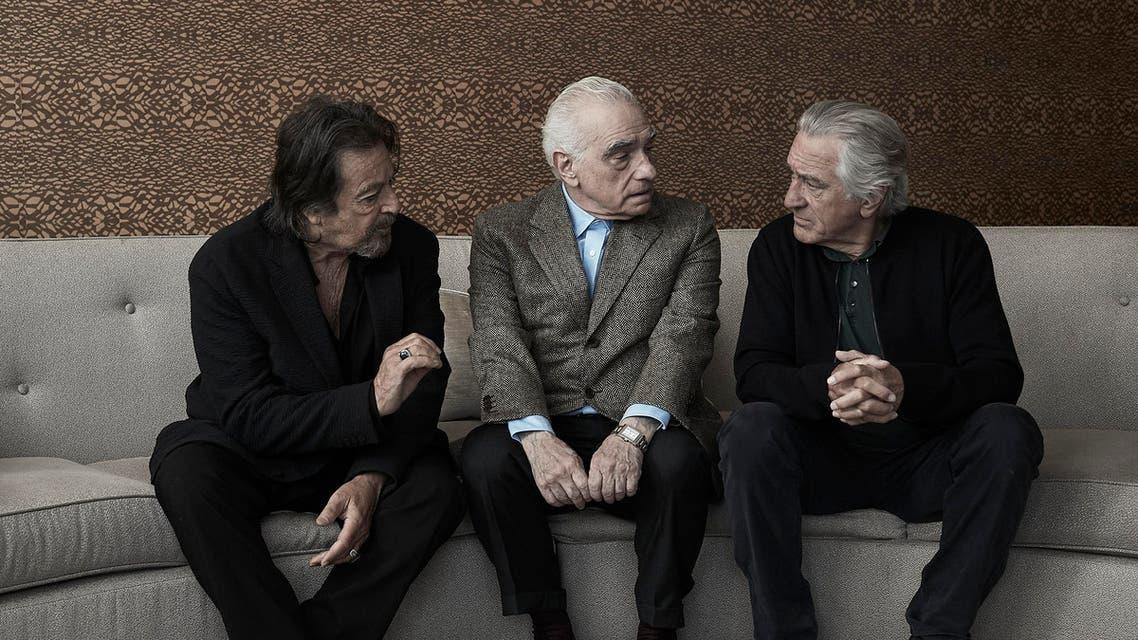 "Actor Al Pacino, director Martin Scorsese, and actor Robert De Niro pose for a portrait to promote their film ""The Irishman"" in New York. (Photo by Victoria Will/Invision/AP)"