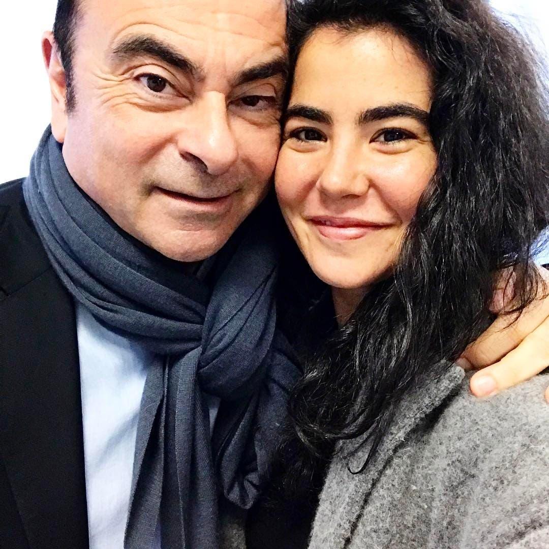 نادين برفقة والدها رجل الأعمال كارلوس غصن