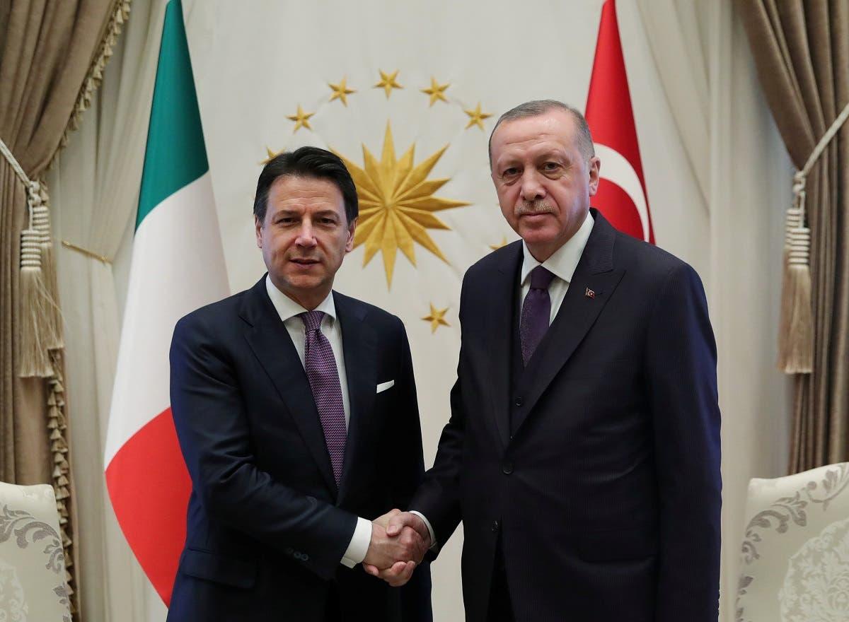 Turkish President Recep Tayyip Erdogan meets with Italian Prime Minister Giuseppe Conte in Ankara, Turkey, January 13, 2020. (Reuters)