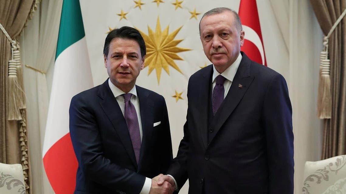 Turkish President Tayyip Erdogan meets with Italian Prime Minister Giuseppe Conte in Ankara, Turkey, January 13, 2020. (Reuters)
