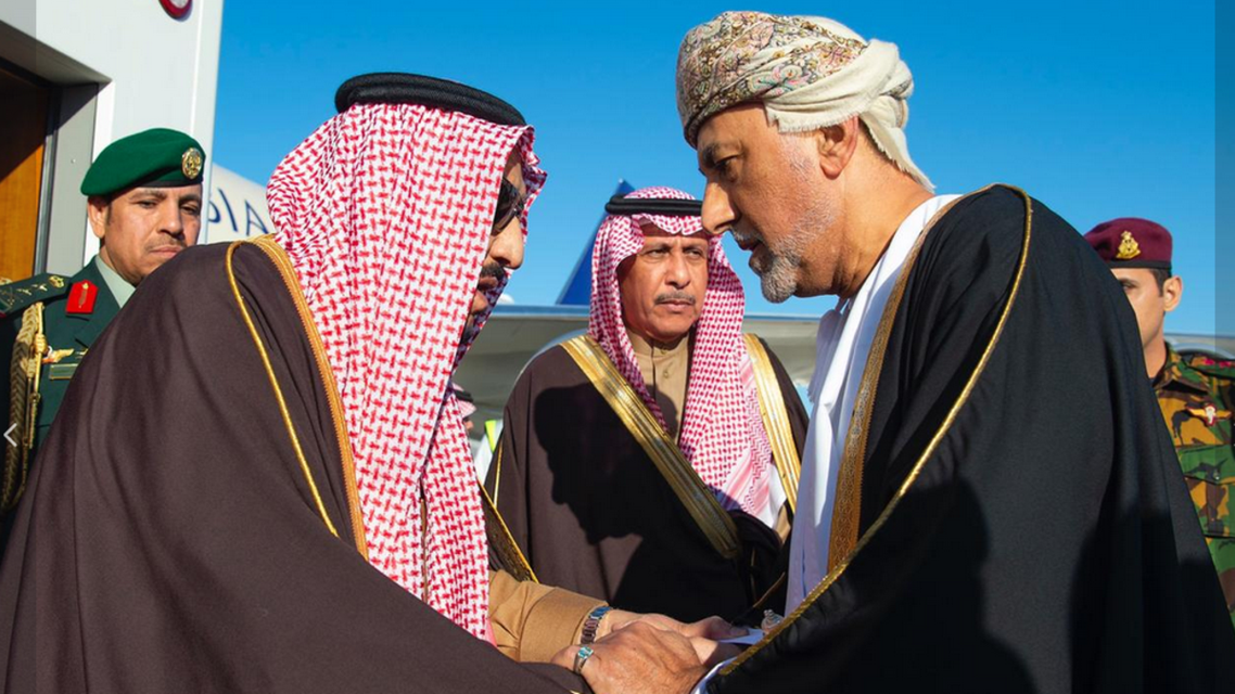 King Salman greets Oman's Sultan Haitham bin Tariq al-Said (SPA)