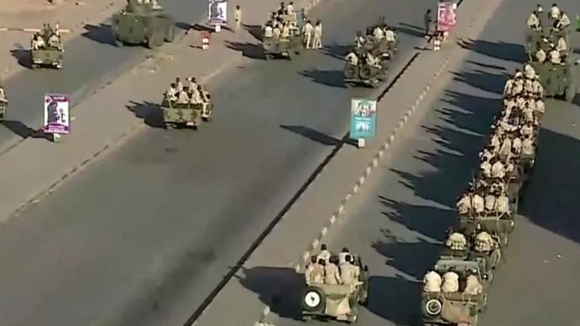 Military deployed on airport road in Khartoum. (Screengrab)