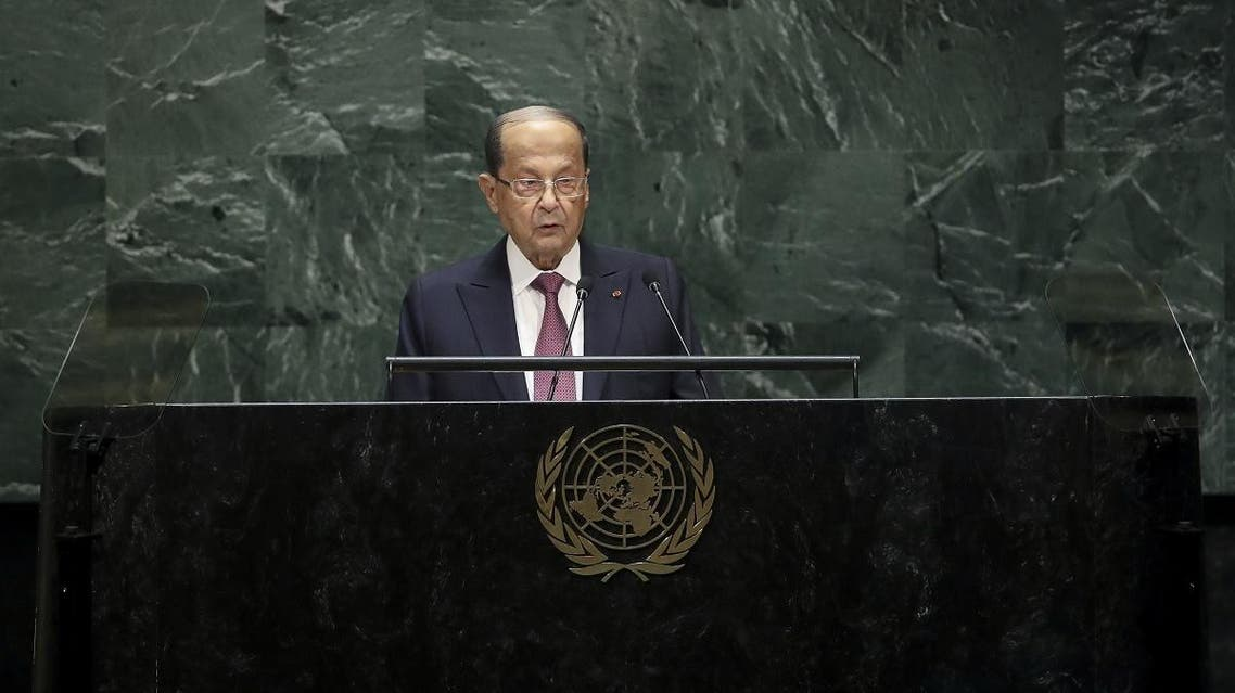 President of Lebanon Michel Aoun addresses the United Nations General Assembly at UN headquarters on September 25, 2019 in New York City. (File photo: AFP)