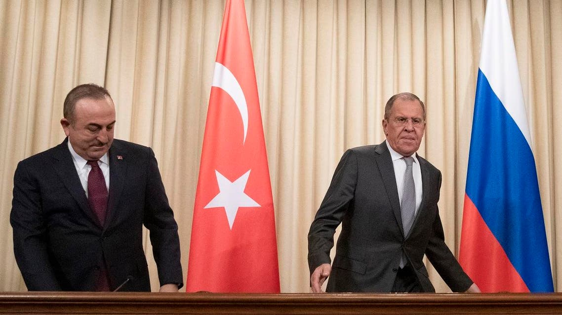 Russian Foreign Minister Sergei Lavrov and his Turkish counterpart Mevlut Cavusoglu hold a joint press conference following the talks on a ceasefire deal between the warring sides in Libya, in Moscow on January 13, 2020. (AFP)