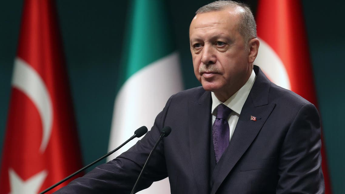 Turkish President Recep Tayyip Erdogan speaks during a press conference following a meeting with Italian Prime Minister at the Presidential Complex in Ankara, Turkey on January 13, 2020. (AFP)